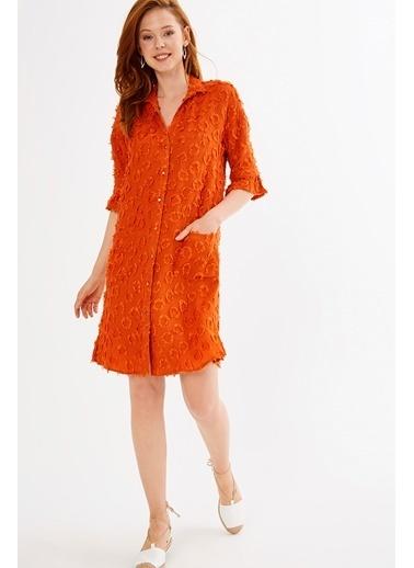 Önden Düğmeli Midi Elbise-Just like you